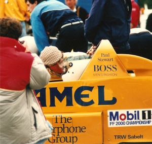 Jackie Stewart at Oulton Park in 1988 with son Paul